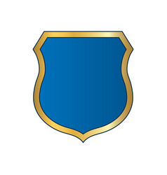shield gold blue icon shape emblem vector image