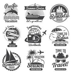 Vintage travel logo set vector