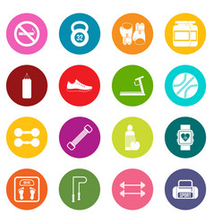 gym icons many colors set vector image