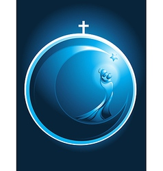 Round christmas icon of mary and baby jesus vector