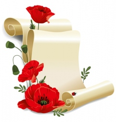 Roll of old paper and poppies vector