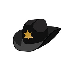 Black sheriff hat vector