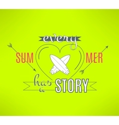 Surfing summer lettering design cool vector