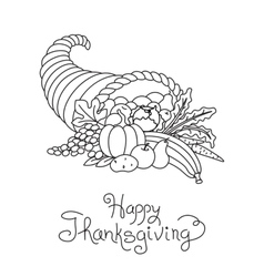 Doodle thanksgiving cornucopia freehand vector