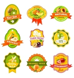 Fuits emblem labels set color vector