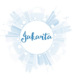 Outline jakarta skyline with blue landmarks vector