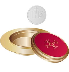 Communion golden paten vector