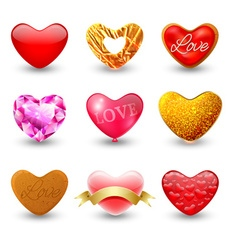 Set of icons hearts vector image
