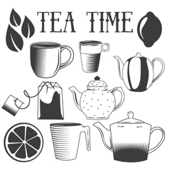 Tea time hand drawn  set of vector