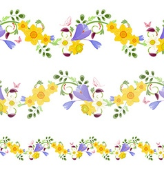 Collection horizontal seamless borders with spring vector