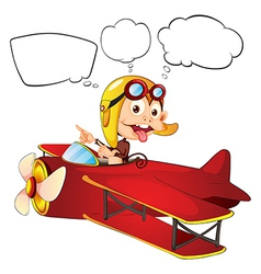 A monkey riding on a red plane vector image vector image