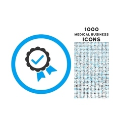 Approved rounded icon with 1000 bonus icons vector