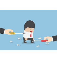 Big hand trying to repair businessman by tightenin vector image vector image