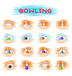 Bowling kegling ball and skittles ninepins vector