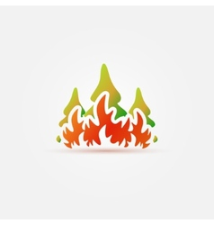Burning forest trees in fire flames icon vector image