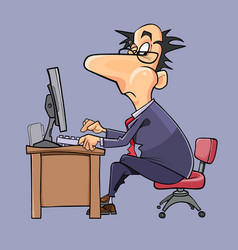 cartoon man in suit and tie working at computer vector image