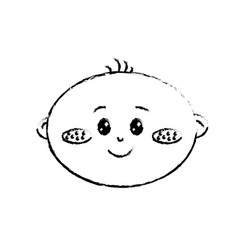 Figure cute baby boy face with expression vector