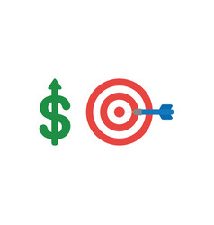 Flat design concept of dollar up with bulls eye vector
