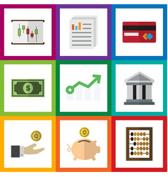 flat exchequer set of document bank counter and vector image