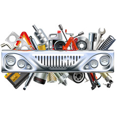 front car part with car spares vector image vector image