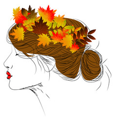 girl with autumn leaves in long hair vector image