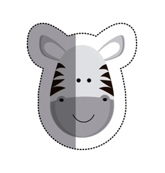 Grayscale sticker with zebra head and middle vector