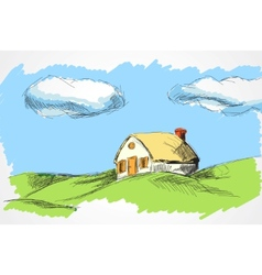house in the meadow vector image vector image