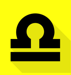 Libra sign black icon with flat vector