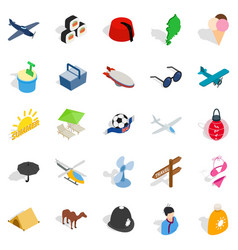 Man of the world icons set isometric style vector