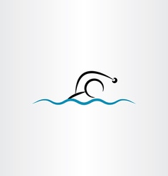 man swimming icon vector image vector image