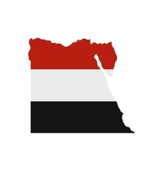 Map of Egypt with the image of the national flag vector image vector image