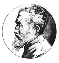 Michelangelo profile portrait vintage vector