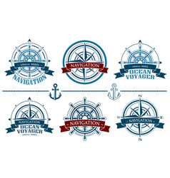 nautical logos set vector image vector image