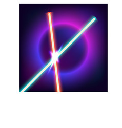 Neon swords flash contact vector