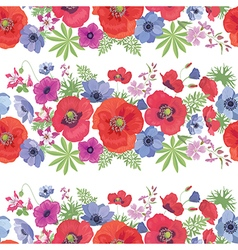 Seamless floral pattern with poppies anemones vector