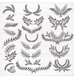 Set of hand-painted twigs vector