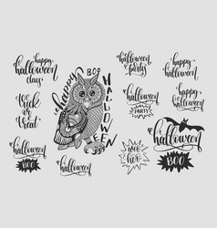 set of happy halloween hand lettering phrases vector image