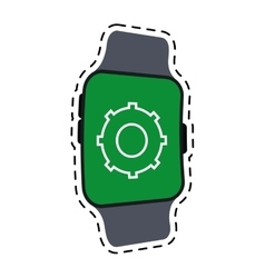 Smart watch gear wearable technology line vector