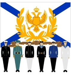 Soldiers and officers of the russian fleet vector
