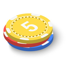 stack of poker chips icon isometric 3d style vector image vector image