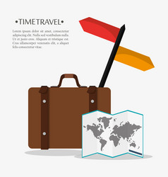 time travel poster suitcase map world vector image vector image