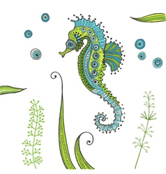 Tropical seahorse background vector