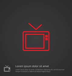 Tv outline symbol red on dark background logo vector