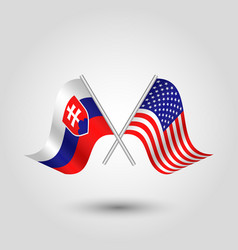 two crossed slovak and american flags vector image vector image