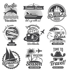 Vintage travel logo set vector