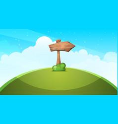 wood arrows cartoon landscape vector image