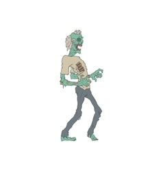 Barefoot creepy zombie outlined drawing vector