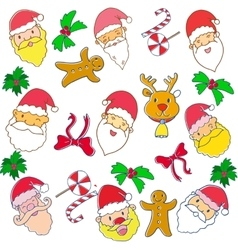 Christmas doodle art with santa candy cake vector