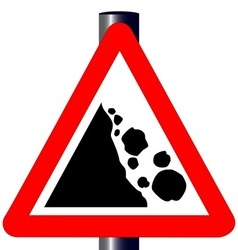 Danger falling rocks traffic sign vector