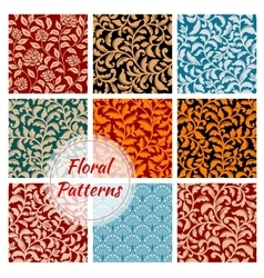 Floral decoration ornament seamless patterns set vector image
